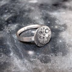 Moon Ring  Silver Space Jewellery by SilverSpiralsShop on Etsy, £50.00