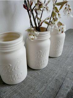 More Mason Jar projects. <3 -Porcelain Mason Jar Vase, Ball Perfect Mason. Esty