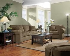 Warm sage green living room with rusty orange see website - Sage green living room ...