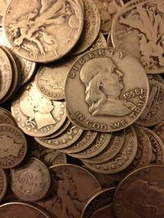 Old US Silver coins...This is otherwise known as 90% silver. Collect them whenever you can...The date to watch out for are years between 1932-1964. These are coins minted with 90% silver on them are very desirable to silver bugs and coin collectors alike.
