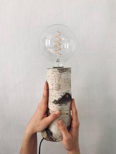 Table lamp lamp light floor birch wood a lamp with LED light bulb Lamp Light, Light Bulb, Room Arrangement Ideas, Led Diy, Handmade Lamps, Flush Ceiling Lights, Wood Lamps, Wood Dust, Rustic Lighting