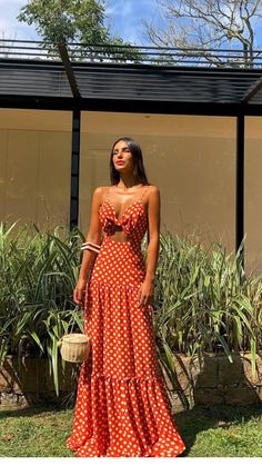 maxi dress Polka Dot Maxi Dresses Knotted Cut Out Sleeveless Long Slip Dress Maxi Dress Summer, Bohemian Summer Dresses, Red Summer Dresses, Beach Dresses, Boho Dress, Bohemian Beach, Dress Beach, Linen Dresses, Dresses Elegant