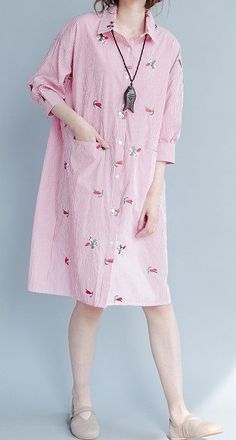Women loose fit over plus size stripe flower embroidery dress pocket tunic skirt #Unbranded #dress #Casual