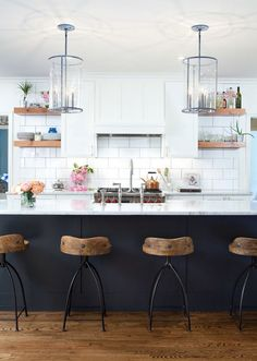 Arteriors Home stools and the The Urban Electric Co. pendants Arteriors Home stools and the The Urban Electric Co. Home Decor Kitchen, New Kitchen, Home Kitchens, Kitchen Dining, Kitchen Wood, Eclectic Kitchen, Kitchen Island Stools, Urban Kitchen, Galley Kitchens