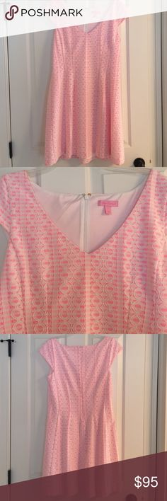 Lilly Pulitzer Dress Gorgeous Lilly Pulitzer dress!! Pink and white with detailing! Worn once, excellent condition, size large zips in back! Lilly Pulitzer Dresses