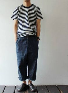stripe tee with Polo denim + black shoes Japan Fashion, Look Fashion, Trendy Fashion, Mens Fashion, Fashion Design, Fashion Menswear, Suit Up, Mode Style, Men Looks