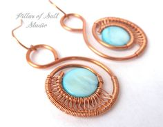 Wire wrapped earrings / copper earrings / wire wrapped jewelry handmade / copper jewelry / teal mother of pearl / woven wire / wire jewelry