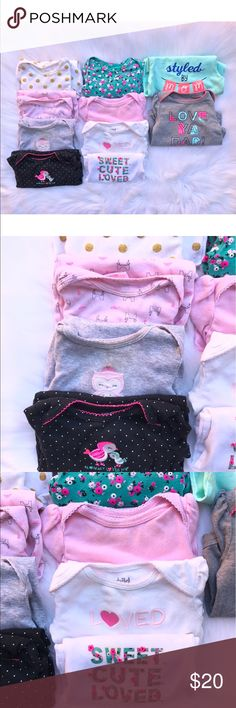 ONESIE BUNDLE 3-6 MONTH All long sleeve, ranging from 3-6 months. A few have minor staining but if you really wanted, I'm sure they could be treated. All Carter's/Cat & Jack Carter's One Pieces