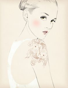 piscis for Elle Horoscope by Sandra Suy - Pencil, Watercolor illustration. Fashion, Beauty