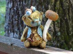 Autumn Brown Turquoise Teddy bear by FeltSilkArtGift