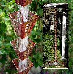 5 Wonderful Rain Chains April showers bring May flowers, or so the saying goes. So, to piggyback on yesterday's post … Garage Pergola, Pergola Patio, Pergola Kits, Pergola Ideas, Corner Pergola, Patio Ideas, Backyard Ideas, Pergola Cover, Pergola Plans