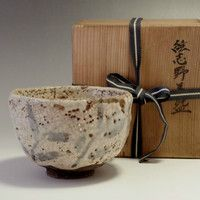 sale: SHINO CHAWAN Antique Japanese Crackle Glaze Pottery Tea Bowl w/box Shuntai