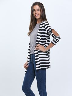 Cotton Stripes Fall Cardigan Sweater With PU Elbow Water