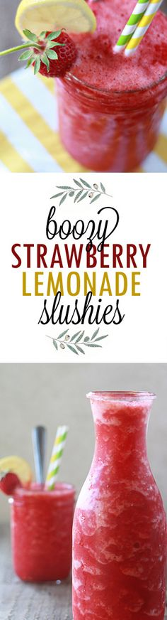 Boozy Strawberry Lemonade Slushie - Love this icy summer cocktail recipe. Basically, it's strawberry lemonade all boozed up, and then frozen into slushie form. Best served poolside!