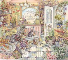 Art illustration from children's story books: Cobblestone Gardens by Kim Jacobs