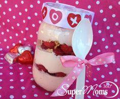 Pretty in Pink Parfaits - Layer on your love with this delicious and nutritious brunch treat using yogurt, granola, fresh berries, and a little creativity. Tags: easy Valentine's Day treat | healthy Valentine's Day recipe | Valentine's Day parfait | Valentine's Day treats for kids | SuperMoms360.com
