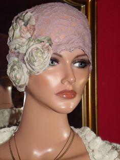 Flapper Hat Cloche Hat  Lace  Boho  High Fashion 1920 style Summer Church Wrap