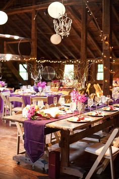 Purple barn table setting