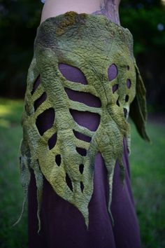 Felt Rain Forest Woodland Nymph Pixie Fairy Elven Leaf Pocket Belt OOAK on Etsy, $178.00