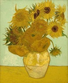 Sunflowers on Blue, 1888 Artist: Vincent Van Gogh. Vincent Willem van Gogh was a Dutch post-Impressionist painter whose work, notable for its rough beauty, emotional honesty and bold color. Art Van, Van Gogh Art, Vase With Twelve Sunflowers, Van Gogh Sunflowers, Flores Van Gogh, Canvas Poster, Canvas Art, Canvas Prints, Print Poster