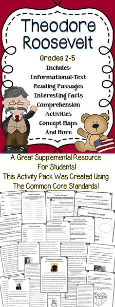 Theodore Roosevelt - This Theodore Roosevelt activity book is a great way to integrate reading  and social studies.  This Theodore Roosevelt resource is a great supplemental resource.  #roosevelt