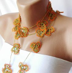 Orange and Green Handmade with Tatting flower Necklace