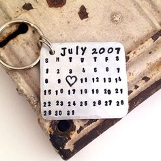 Hey, I found this really awesome Etsy listing at https://www.etsy.com/listing/157952600/calendar-keychain-hand-stamped-aluminum