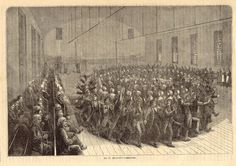 """""""The Shakers of New Lebanon- Religious Exercises in the Meeting-House,"""" Mount Lebanon, NY, Joseph Becker (1841-1910), published in """"Frank Leslie's Illustrated Newspaper,"""" 1873: Wood engraving, Ink on paper.  Shaker Museum"""