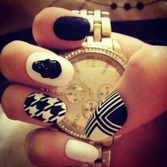 Cool black and white nails #nails