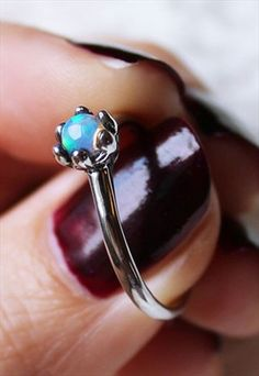 Sterling silver opal ring.