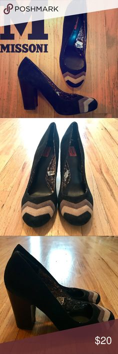 "Missoni Black 3.75"" Heels w/ Design Accent on Toe Missoni Black 3.75"" Heels w/ Design Accent on Toe, Size 7.5. Beautiful pair of hardly worn shoes with a zig zag pattern of different shades of brown on toe. Excellent pre-owned condition!! Delightful pair of cute shoes!! M by Missoni Shoes Heels"