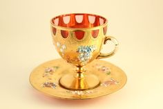 Rare Moser Style Bohemian Cranberry Glass Encrusted Enamel Gold Tea Cup & Saucer
