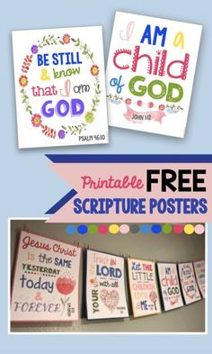 Scripture wall art for kid's bedrooms or your Sunday school room! FREE printables that decorate a room and teach your children about the Bible