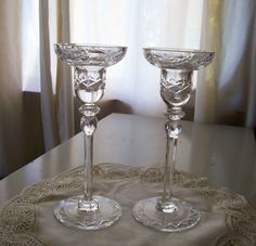 Rogaska GALLIA Crystal Candle Holder Candlesticks with Original Label PAIR #Rogaska