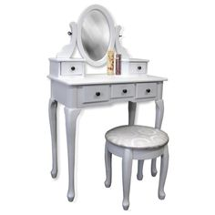 White Vanity Table Set Jewelry Armoire Makeup Desk Bench Drawer Adjustable oval wooden frame with mirror 5 Storage drawers Table dimensions: x x Stool dimensions: x White Vanity Table, Vanity Table Set, Makeup Table Vanity, Makeup Desk, Vanity Desk, Table Desk, Makeup Stool, 5 Drawer Storage, Wooden Vanity