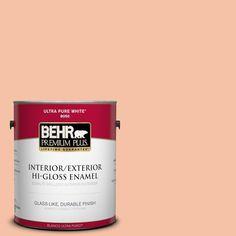 BEHR Premium Plus 1-gal. #240C-3 Peach Damask Hi-Gloss Enamel Interior/Exterior Paint