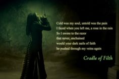 Nymphetamine- Cradle of Filth; pinning to this board because Cradle of Filth has helped me through a hard time recently Music For You, Music Is Life, My Music, Band Quotes, Lyric Quotes, Musica Metal, Dani Filth, Cradle Of Filth, Concept Album