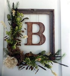 Front door wreath with initial, monogram wreath, rustic decor, farmhouse decor, r … - Home Decor Bedroom Diy Home Decor Rustic, Easy Home Decor, Handmade Home Decor, Cheap Home Decor, Farmhouse Decor, Modern Farmhouse, Rustic Outdoor Decor, Rustic Wall Decor, Modern Decor