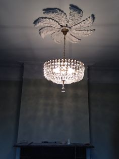 1930's Belgian chandelier fitted into place on recast ceiling rose