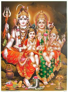 Image result for shiva with ganesh and kartikeya running around universe