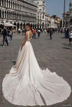 julie vino spring 2018 bridal sleeveless deep plunging v neck full embellishment romantic sexy a line wedding dress open v back royal train (05) bv
