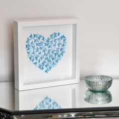 Small Butterfly Heart Picture in Turquoise