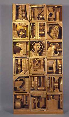 Louise Nevelson, Royal Tide I (1960) Artwork Description & Analysis: Royal Tide I contains an attractive array of objects, many of which resemble their original forms despite being spray-painted a brassy gold.