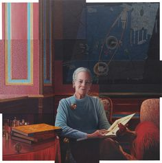 """Portræt af HMD udført af Lars Physant 2015; On Tuesday, April 14, 2015, Her Majesty Queen Margrethe II of Denmark unveiled yet another new portrait of herself at the famous Nationalmuseet in Copenhagen.  The interesting new painting entitled, At Skabe Billeder af Billeder, was created by Danish-born Barcelona-based artist, Mr. Lars Physant.  According to a press release via the Nationamuseet, the painting:  """"…embraces the Queen's deep interest in archeology and links a special bond to Gorm…"""