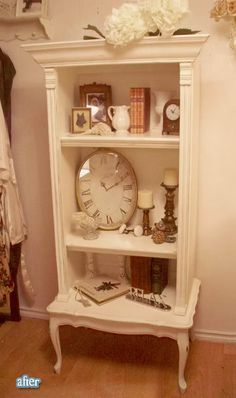 Cute shelf made from an end table and an old dresser!