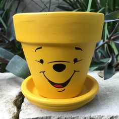 *Processing time is 1-2 weeks. To receive your items faster add the Rush My Item listing for each item to your cart prior to checking out.* https://www.etsy.com/listing/544119761/rush-my-item?ref=shop_home_active_1 Winnie the Pooh inspired hand painted 4 inch terra cotta pot with 4 inch terra cotta saucer. Listing images show hand-painted 4 inch terra cotta pot with a hand-painted 4 inch terra cotta saucer, however variations for a 6 inch pot/saucer and 8...