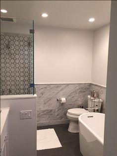 Trellis carrara marble shower