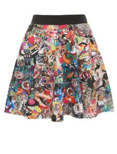 Cameo Rose Multicoloured Tattoo Print Skater Skirt