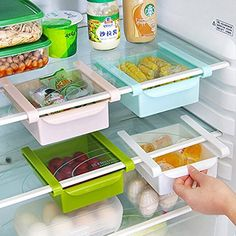 Fridge Storage Sliding Drawer, Hineway Refrigerator Organizer Space Saver Shelf(Blue, 4 Piece), http://a.co/1FRljiV