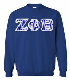 $30 Zeta Phi Beta Custom Twill Sweatshirt. Choose your own twill from hundreds of patterns! #greekgear #sororitycrewneck